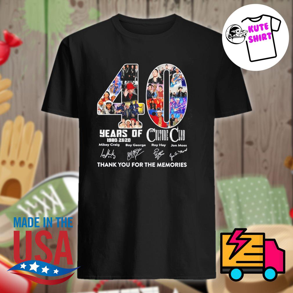 40 years 1980-2020 of Culture Club thank you for the memories shirt