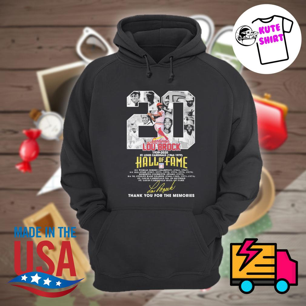 20 Lou Brock 1939 2020 St Louis Cardinals 1964 1979 Hall of Fame signature thank you for the memories s Hoodie