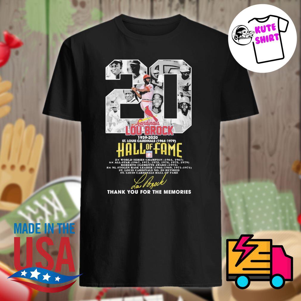20 Lou Brock 1939 2020 St Louis Cardinals 1964 1979 Hall of Fame signature thank you for the memories shirt