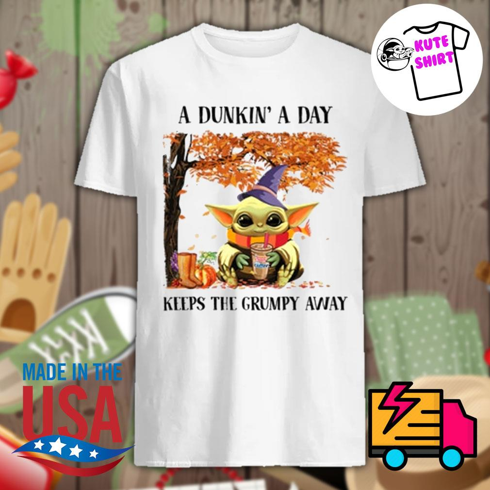 Baby Yoda a dunkin' a day keeps the grumpy away Halloween tree shirt