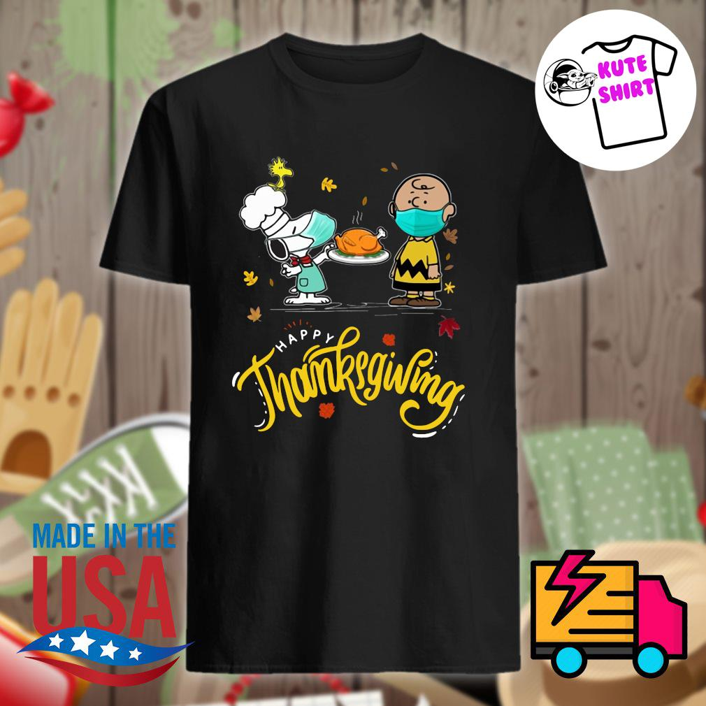 Charlie Brown and Snoopy chef face mask happy Thanksgiving shirt