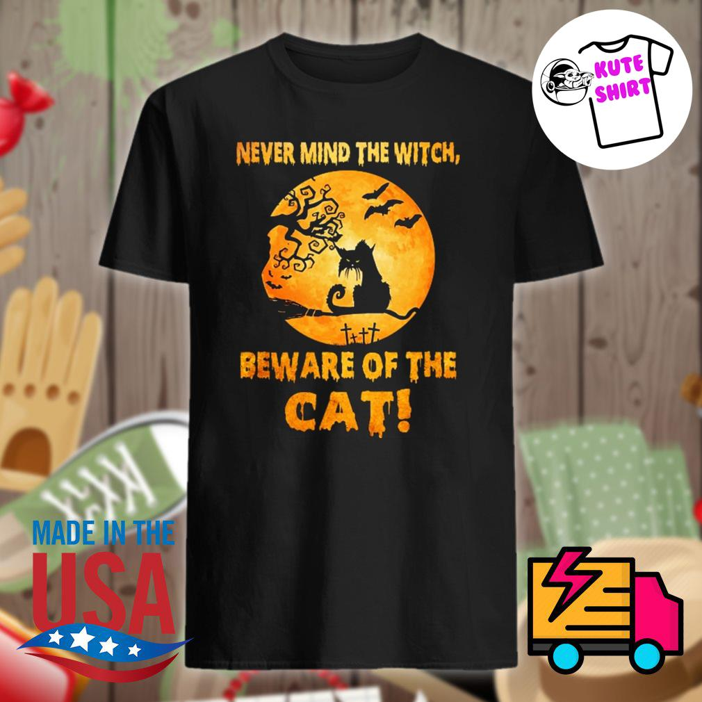 Never mind the witch beware of the Cat moon Halloween shirt