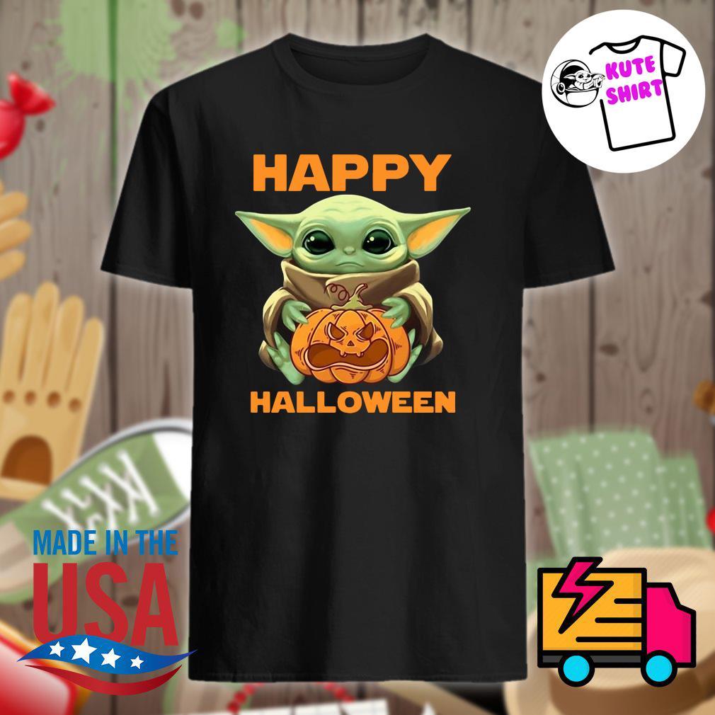 Baby Yoda hug pumpkin Halloween shirt