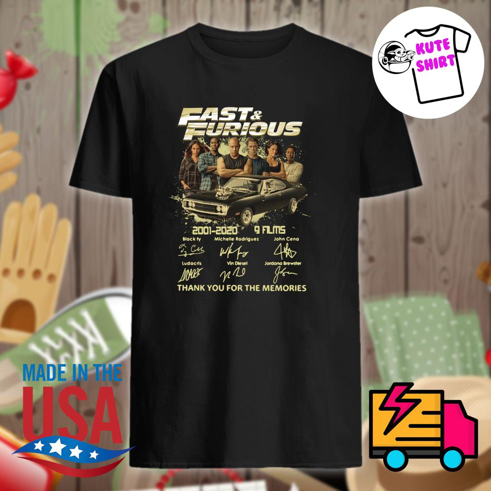 Fast and Furious 2001 2020 9 films characters signatures thank you for the memories shirt
