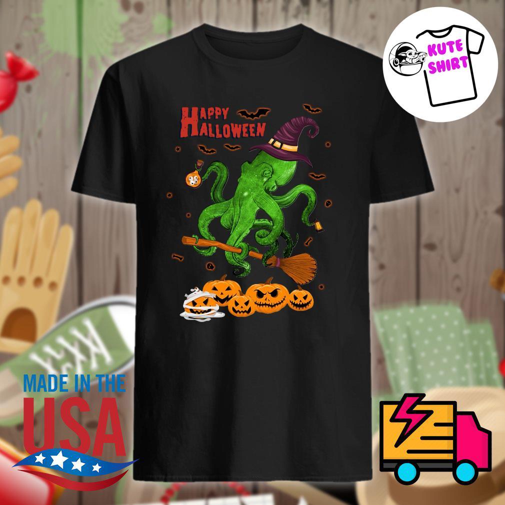 Octopus witch pumpkin happy Halloween shirt