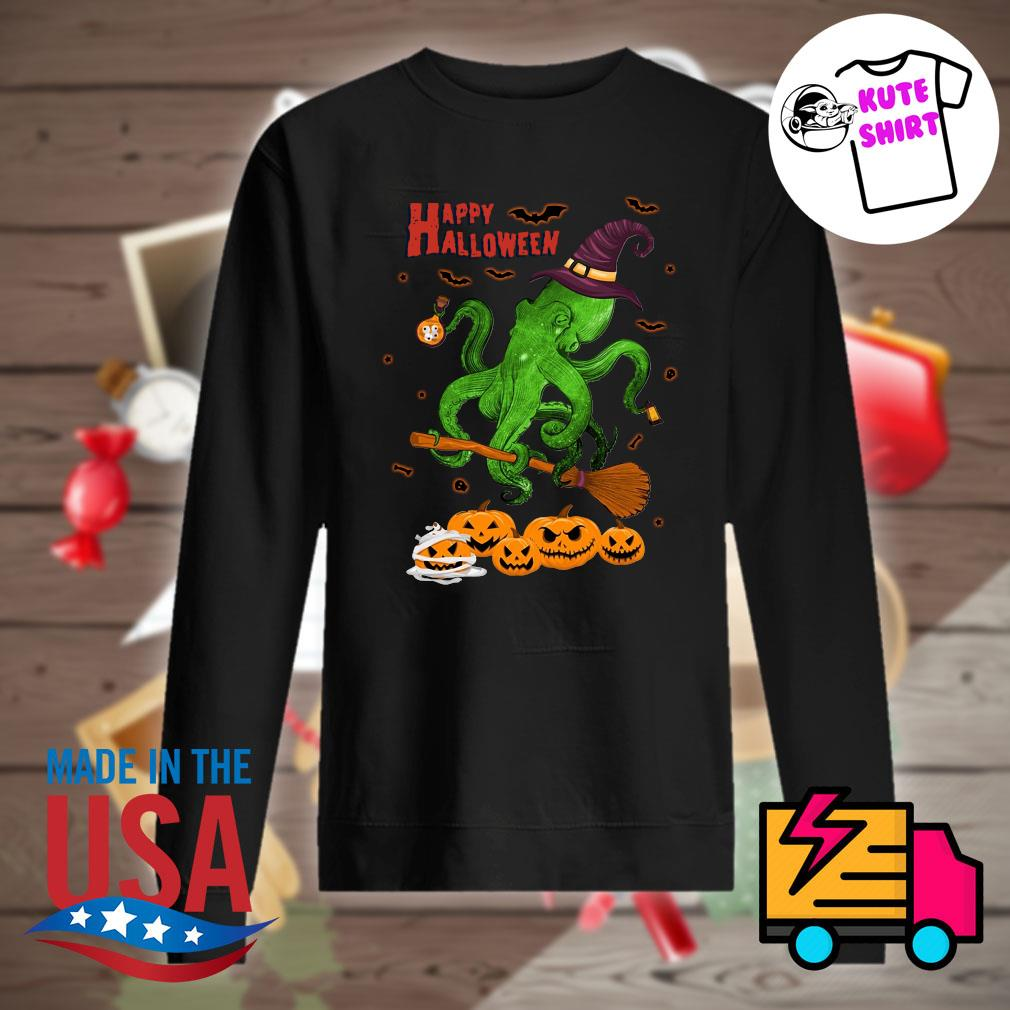 Octopus witch pumpkin happy Halloween s Sweater