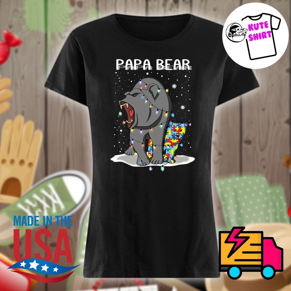 Papa bear autism Christmas s Ladies t-shirt