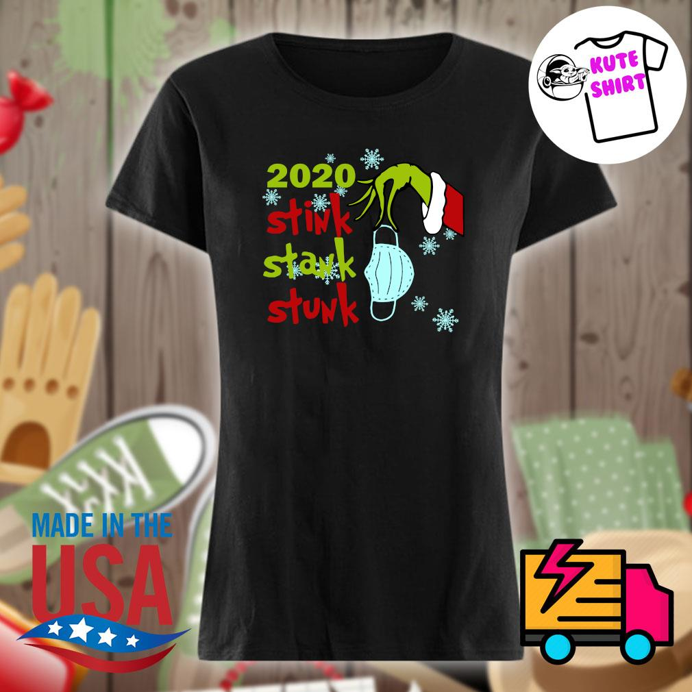 Grinch hand face mask 2020 stink stank stunk Christmas s Ladies t-shirt