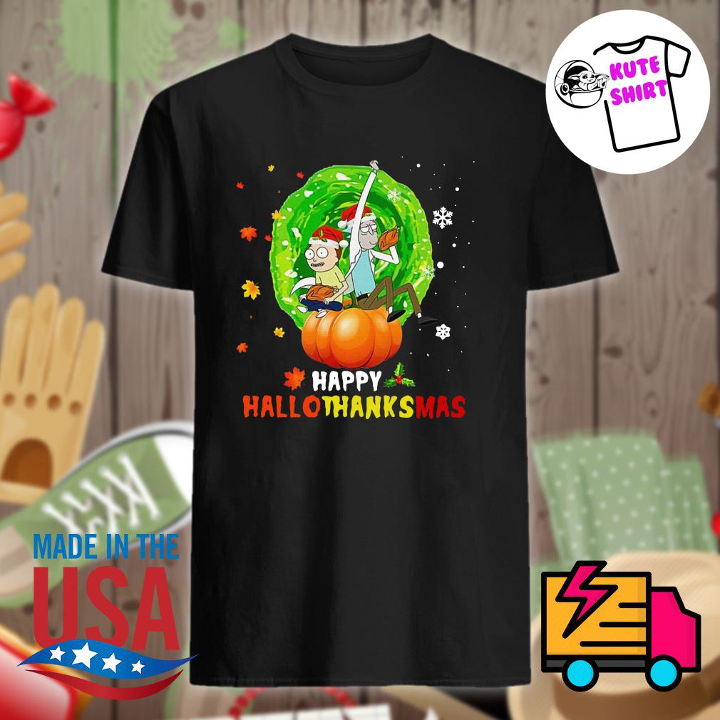 Rick and Morty happy HalloThanksMas shirt
