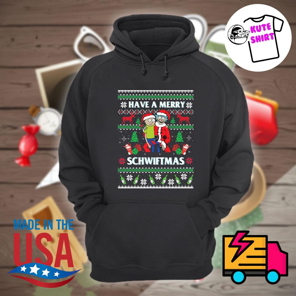 Rick and Morty have Merry Schwiftmas ugly Christmas sweater Hoodie