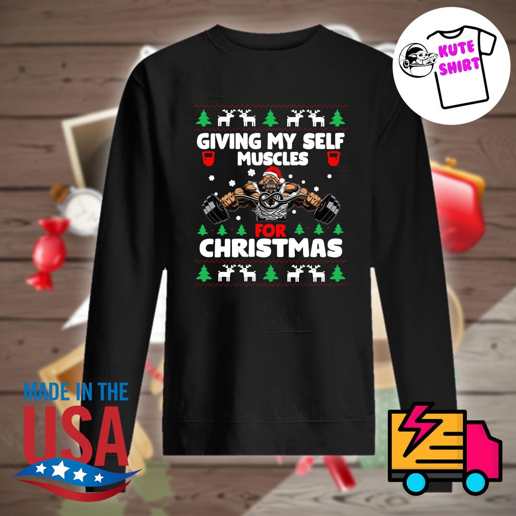 Santa Dog Gymer giving my self muscles for Christmas ugly Christmas sweater Sweater