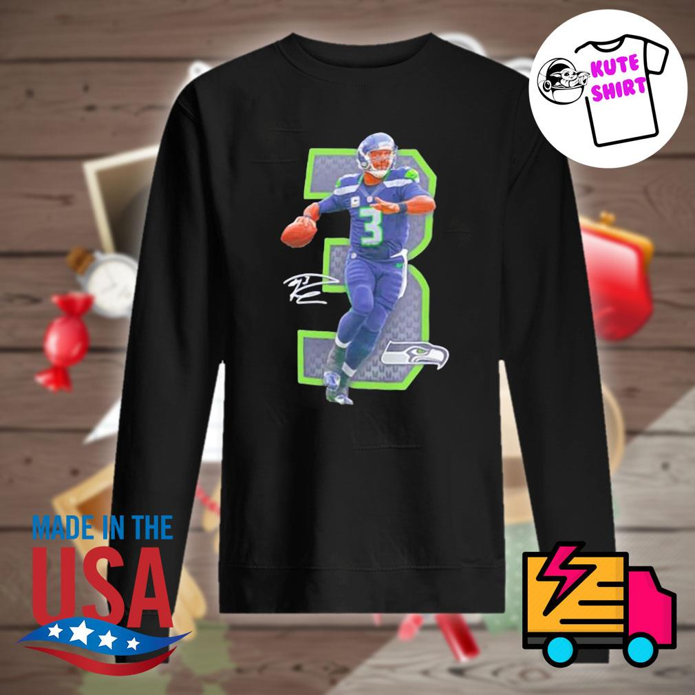 NFL Seattle Seahawks 3 Russell Wilson signature s Sweater