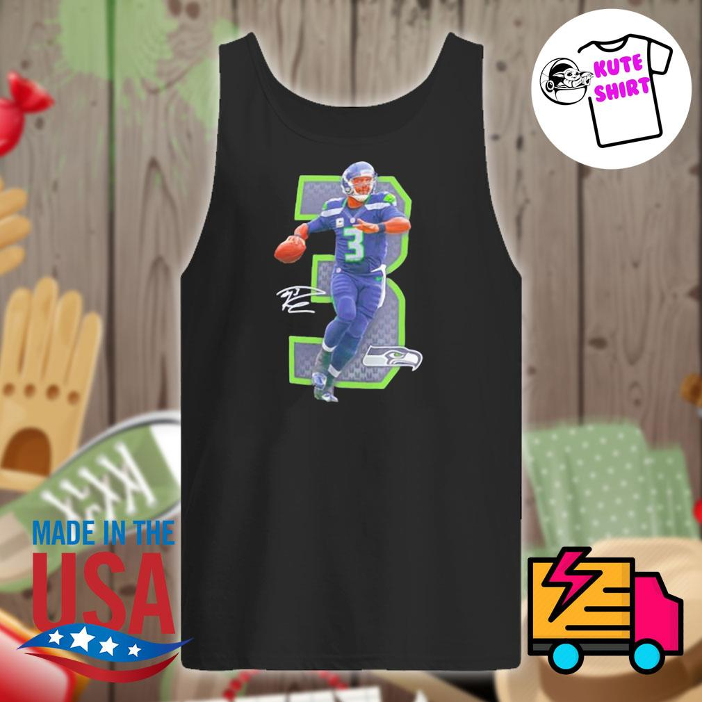 NFL Seattle Seahawks 3 Russell Wilson signature s Tank-top